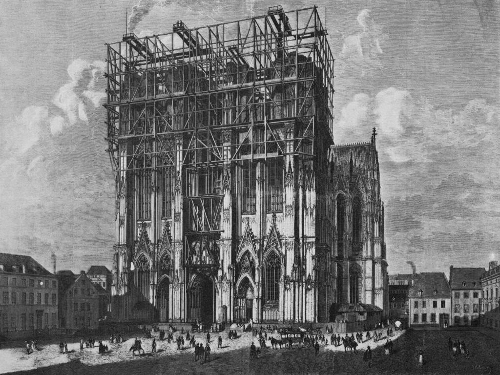 Kölner Dom - Westturm im Bau, Jakob Scheiner (1872)