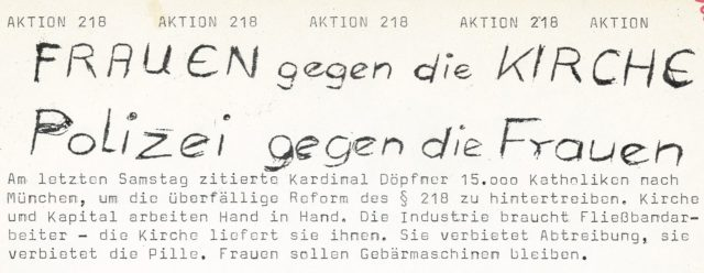 Ute Geißler: Frauen gegen die Kirche : Polizei gegen die Frauen. Flugblatt, , 1973 (FMT-Signatur: FB.05.037)