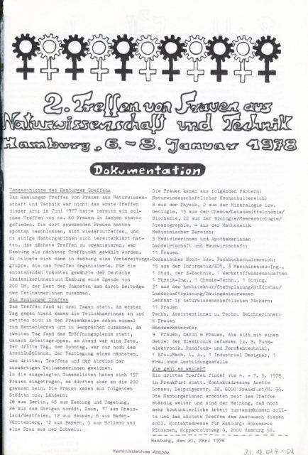 Dokumentation des 2. Treffens von Frauen aus Naturwissenschaft und Technik, Hamburg, Januar 1978 (FMT-Signatur: BI.12.027-02)