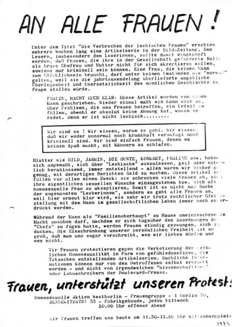 An alle Frauen! Homosexuelle Aktion , 1973 (FB.07.145)