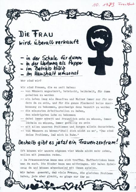 Flugblatt zur Gründung des Frankfurter Frauenzentrums, 1973 (FMT-Signatur: FB.05.024)
