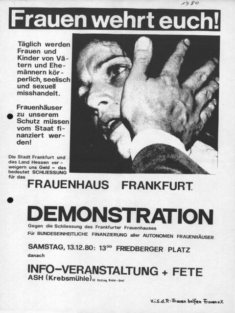 Flugblatt: Demonstration für Förderung von Frauenhäusern, 13.12.1980, Frauen helfen Frauen - Frauenhaus e.V. (FMT-shelfmark: FB.04.090)