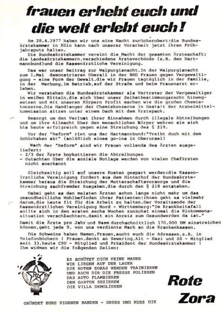 Flugblatt der Roten Zora, April 1977 (FMT-Signatur: FB.07.102)