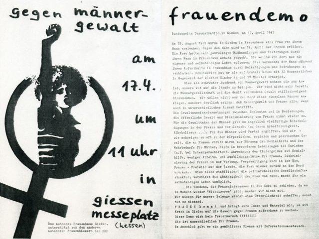 Flugblatt: Aufruf zur Demo am 17. April 1982 (FMT-shelfmark: FB.04.075)