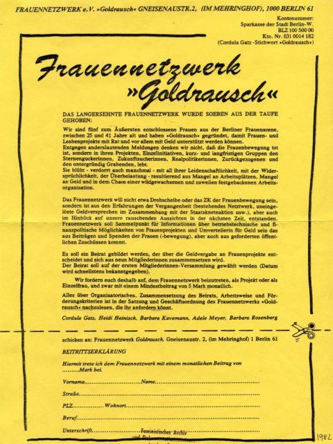 Gründungsinformation des Frauennetzwerks Goldrausch in Berlin 1982 mit Beitrittserklärung (FMT-Signatur: FB.07.066)