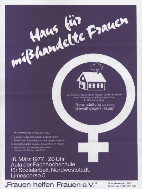 """Flugblatt: Veranstaltung zum Thema """"Gewalt gegen Frauen"""", 16.03.1977 (FMT-shelfmark: FB.04.091)"""