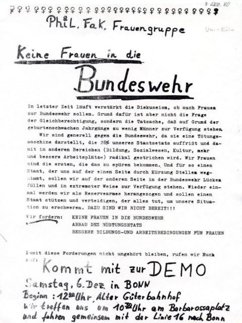 Leaflet: Call for a Demonstration in Bonn, 6.12.1980, (FMT Shelf Mark: FB.05.148)