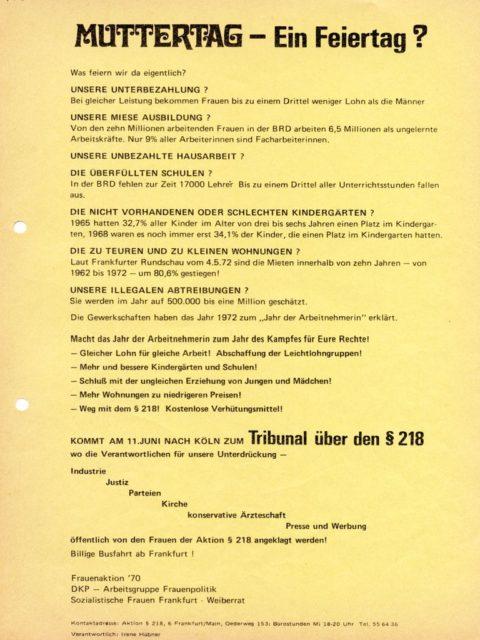 Muttertag - Ein Feiertag? (1972). - Frauenaktion 70 [Hrsg.] ; DKP-Frauenarbeitskreis [Hrsg.] ; Weiberrat [Hrsg.], siehe Flugblatt im Bildarchiv (FMT-Signatur: FB.07.047)