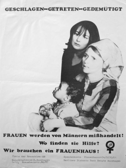 Plakat: Geschlagen - getreten - gedemütigt : Frauen werden von Männern mißhandelt! ; Wo finden sie Hilfe? ; Wir brauchen ein Frauenhaus!, 1976 (FMT-shelfmark: PT.047)