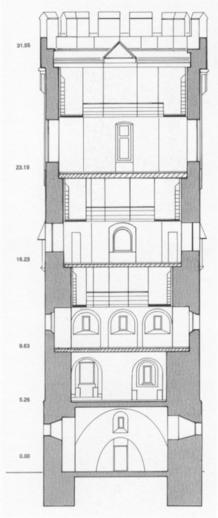 Querschnitt Planung Neubau Bayenturm 1992 (aus: Turmbuch)