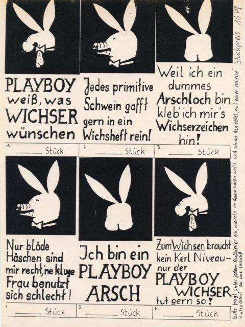 Anti-Playboy-Aufkleber, um 1985, © Autonomes Frauen- u. Lesbenreferat, Ruhr-Uni Bochum: Bestellformular für Aufkleber (FMT-Signatur: FB.02.057)