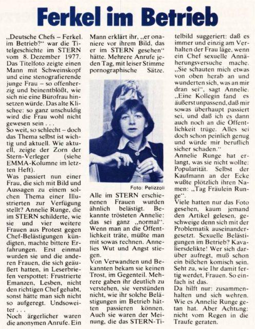 Externer Link: Ferkel im Betrieb. - In: EMMA, 3/1978, S. 50, siehe Pressedokumentation I : Sexuelle Belästigung am Arbeitsplatz (FMT-Signatur: PD-AR.03.07, Kapitel 1).