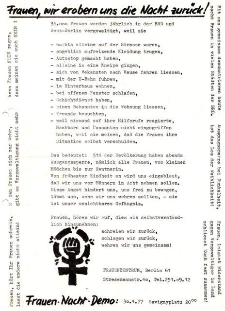 """Aufruf zur """"Frauen Nacht Demo"""" am 30.04.1977 in Berlin (FMT-Signatur: FB.07.104)"""