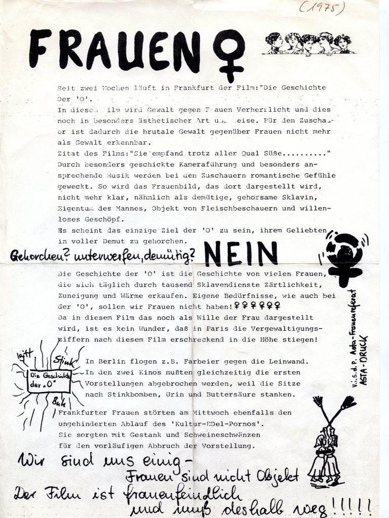 Asta-Frauenreferat Frankfurt/M. Flugblatt gegen die Geschichte der O, 1975 (FMT-Pressedokumentation: PD-SE.09.03-1)