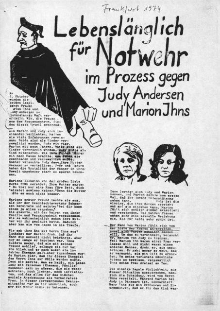 Flugblatt gegen das Urteil im Ihns-Andersen-Prozess, 01.10.1974(FMT-Signatur: FB.04.129)