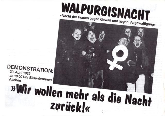 """Walpurgisnacht """"Nacht der Frauen gegen Gewalt und gegen Vergewaltigung"""" : """"Wir wollen mehr als die Nacht zurück"""" (FMT-Signatur: FB.07.160)"""