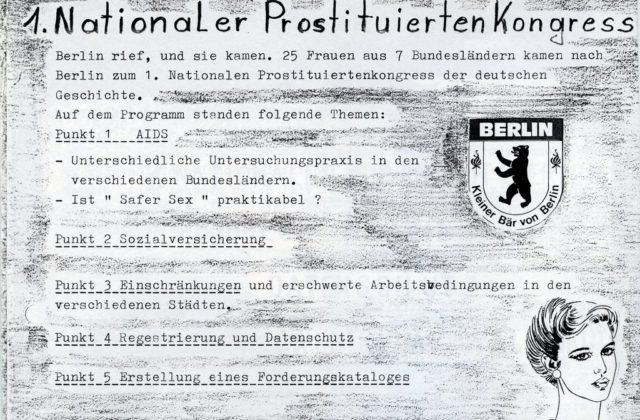 1. Nationaler Prostituiertenkongress (1985). - In: Rotstift : Zeitschrift für Bar, Bordell, privat und Bordstein, November 1985, S. 3f. (FMT-Signatur: Z502).