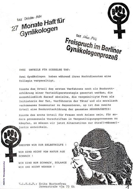 zum Berliner Gynäkologen-Prozess, Quelle: Pressedokumentation: Vergewaltigung : exemplarische Prozesse und Urteile II ; Berliner Gynäkologen-Prozess (FMT-shelfmark: PD-SE.03.04)
