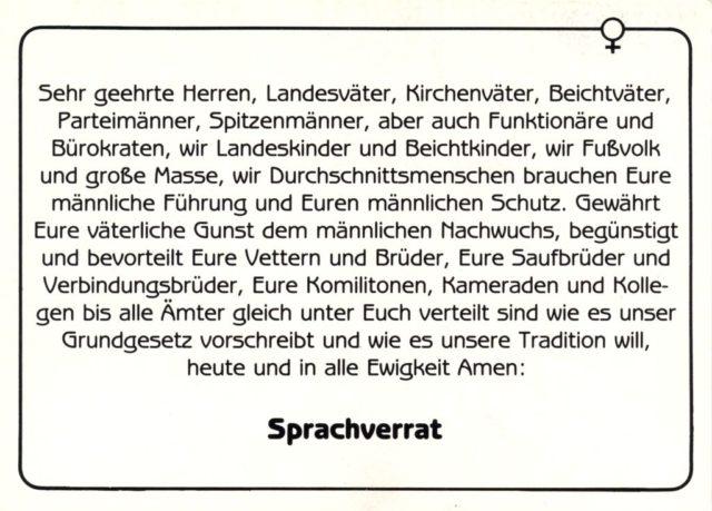 Postkartenserie A: Zeitgenösische Zitate, Nr. 7: Senta Trömel-Plötz, Sprachverrat 3, Vertrieb B. Dorothea Krüger (FMT-Signatur: VAR.03.028)