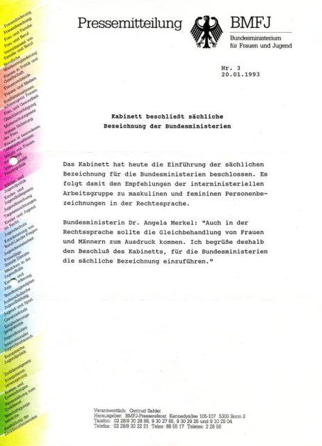 Pressemitteilung BMFJ, 1993, Quelle: FMT-Pressedokumentation Frauen und Sprache II : Anredeform Frau - Fräulein in historischer Entwicklung (FMT-Signatur: PD-KU.23.02)