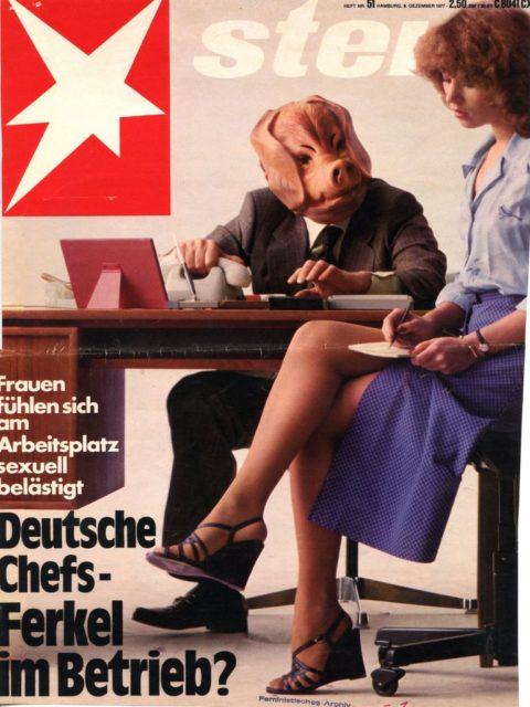 Kolb, Ingrid (1977): Angequatscht, Betatscht, Vernascht. – In: Stern, 8.12.1977, siehe Pressedokumentation: Sexuelle Belästigung am Arbeitsplatz I (FMT-shelfmark: PD-AR.03.07, Kapitel 1).